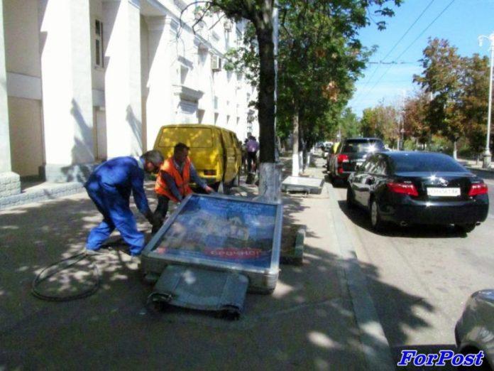 Демонтаж рекламных тумб в Краматорске