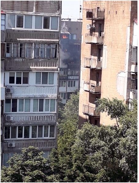 В Донецке горел 9-ти этажный дом
